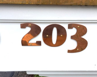 "Art Deco style Copper numbers  polished, hammered or brushed, 3""/75mm or 4""/100mm high East Market  font t"