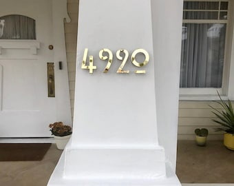 """Mission Mackintosh style floating numbers in brass 3""""/75mm,4""""/100mm high  Hill House font d"""