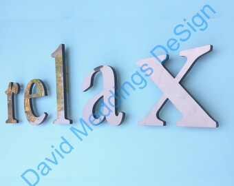 """Block Copper floating letters in lower case to buy with 6""""/150 mm high CAPS if required in  Garamond lacquered with standoff fixing d"""