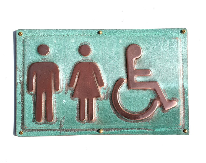 "Unisex and Wheelchair user disabled toilet lavatory sign 4.5""""/115mm high polished and patinated d"