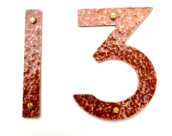 "Arts and Crafts style Copper numbers letters polished, hammered or brushed, 3""/75mm or 4""/100mm high P22 font t"