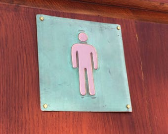 "Male mens room toilet lavatory sign Plaque 4.5""""/115mm square in polished and patinated copper sheet with fixings g"