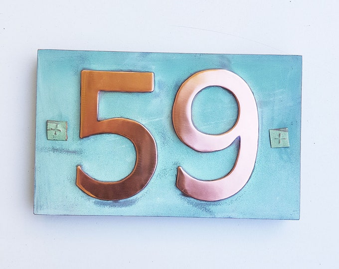 "Copper house number plaque with plywood back for easy screw fixing  3""/75mm or 4""/100 mm high 2x nos in Antigoni d"