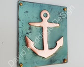 Anchor ship nautical copper sailing plaque gift in green copper sheet 3.5 x 3.25 quot 90x80mm d