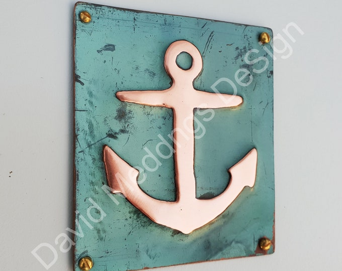 "Anchor ship nautical copper sailing  plaque gift in green copper sheet 3.5 x 3.25""/90x80mm d"