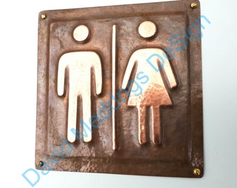 "Unisex green or hammered copper toilet lavatory washroom sign info Plaque 4.5""""/115mm square d"