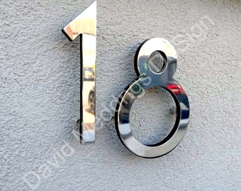 "Modern style floating numbers in brass 6""/150mm high Polished, hammered or brushed Grenadier font tu"
