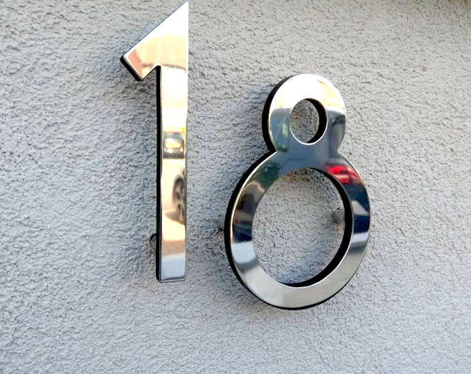 "Modern style floating numbers in brass, 6""/150mm high Polished, hammered or brushed Grenadier font t"