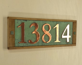 """Large copper and wooden oak plaque, polished and patinated  5 x 150mm/6"""" high numbers d"""