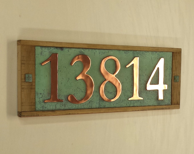 "Large copper and wooden oak frame plaque, polished and patinated  5x 150mm/6"" high numbers d"