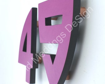"Arts and Crafts coloured floating House numbers in virgin cladding material 4""/100mm high in Bala font d"