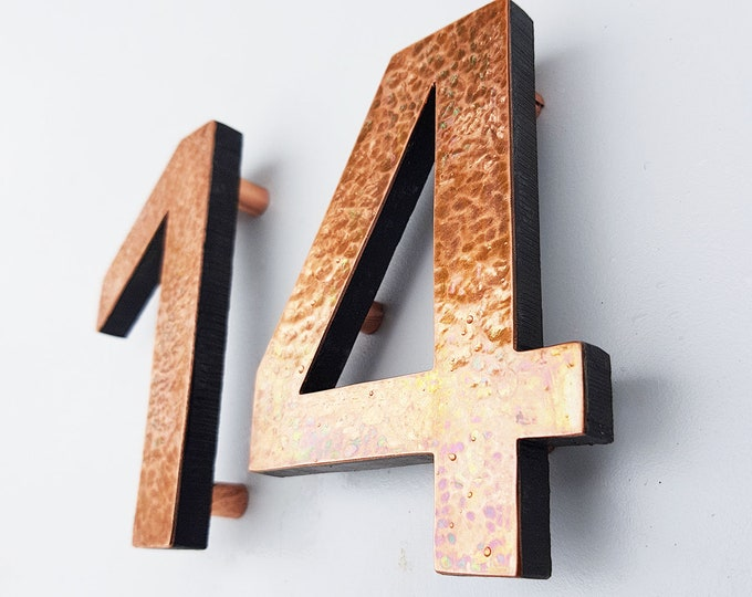 "Modern House numbers hammered or green copper Contemporary floating in 3""/75mm high Antigoni - Polished and lacquered d"