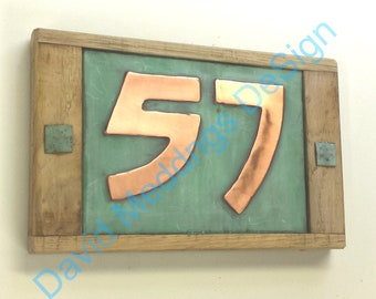 "Arts and Crafts Copper and oak wood plaque  2x 3""/75mm or 4""/100mm high numbers in Bala font d"