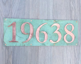 "Large  House address plaque 6"" high numbers in Copper,lacquered and patinated, 5 x nos in Garamond, d"
