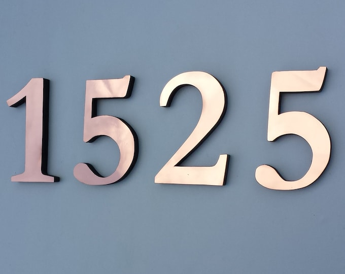 "Copper house numbers floating block  6""/150 mm in  Traditional Garamond font,   laquered, standoff/floating fitting d"