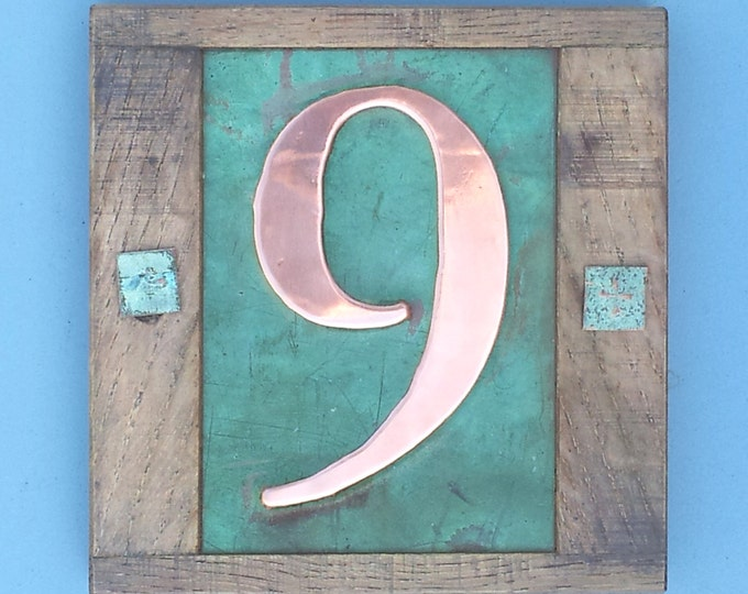 "Eco friendly Copper House with oak frame 1x no 3""/75mm or 4""/100mm number in Garamond font g"