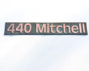 "Green Copper House Address name Plaque polished 3""/75mm high numbers/letters in Antigoni d"