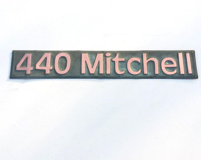 "Green Copper House Address name Plaque polished, 3"" numbers/letters in Antigoni d"