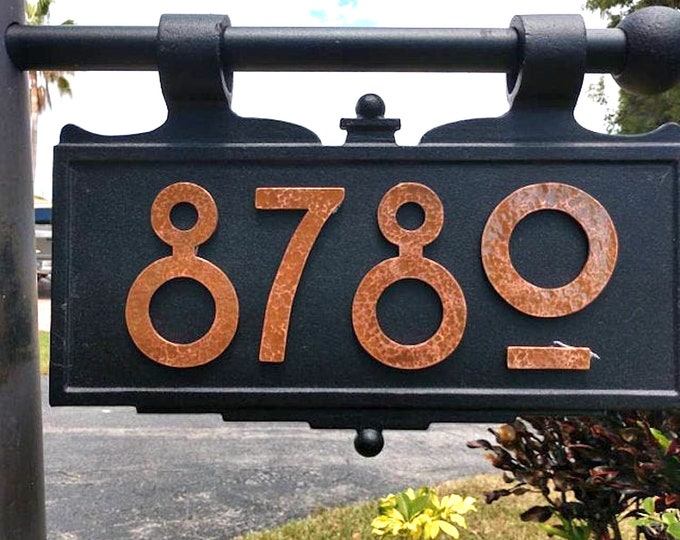 "Copper house numbers in Mission Mackintosh style in polished, hammered  or brushed finish 3"" or 4""/100mm high  d"