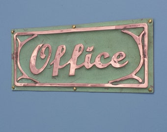 "Office sign Beach house hut plaque  in written script letters 2"" high art nouveau with embellishment d"