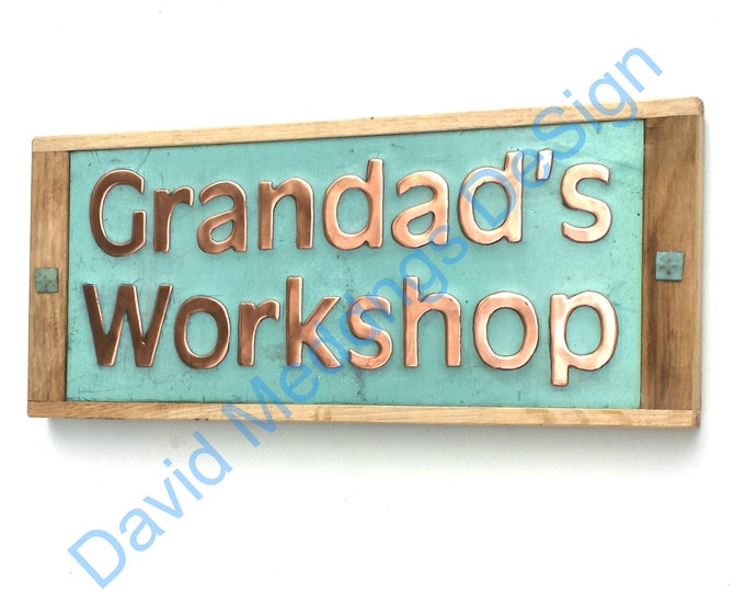"House sign plaque in green Copper with oak frame in 2"" high Antigoni on 1 or 2 lines d"