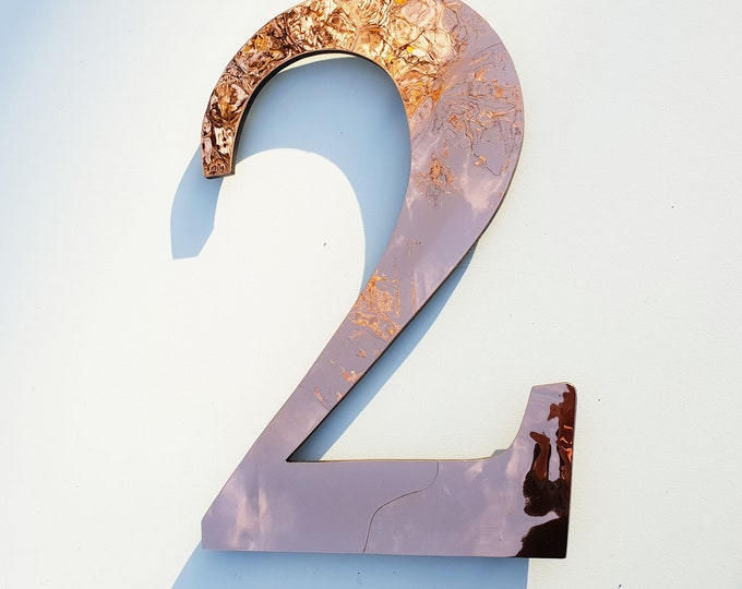 """Large Serif style floating numbers in copper, 9""""/228mm high in polished, hammered or  brushed with some discreet seams, Garamond font t5"""