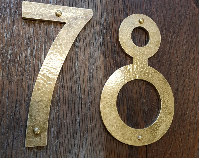 "Brass house numbers in Mission Mackintosh style in polished, hammered or brushed finish 75mm/3"" or 4""/100mm high  d"