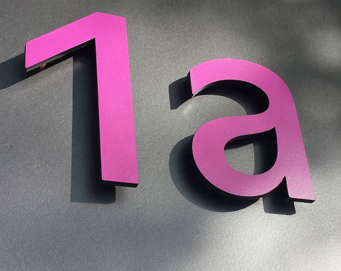 "Modern contemporary floating Coloured House numbers, 12""/300mm high in Antigoni from resin board g"