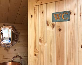 """Copper plaque WC toilet lavatory sign  in 2""""/50mm Garamond, or your initials ? d"""