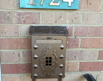"House Address copper plaque in Garamond with plywood back 3""/75mm or 4""/100 mm, 4x nos. easy fitting for stucco, brick and timber d"