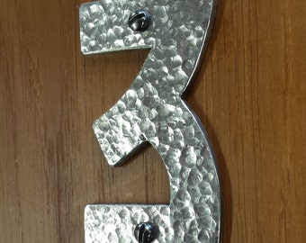 "Pewter Arts and Crafts House 3""/75mm, 4""/100mm high number, hammered or polished in Bala font"