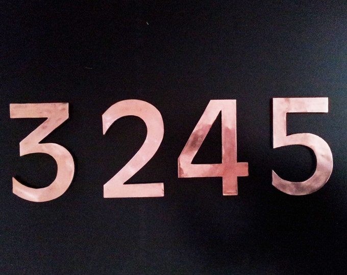 "Large architectural floating numbers with copper face 9""/230mm high in Antigoni d"