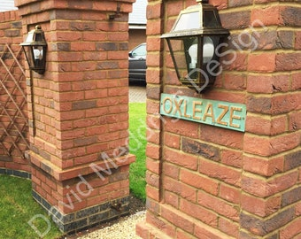 "House Address Plaque in real  green Copper - plywood backed  3""/75mm high CAPITALS Antigoni font d"