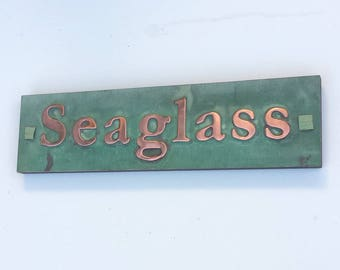 "Copper Sign Plaque in Garamond font, 1""/25mm characters on one or two lines plywood backed, polished, laquered and patinated g"