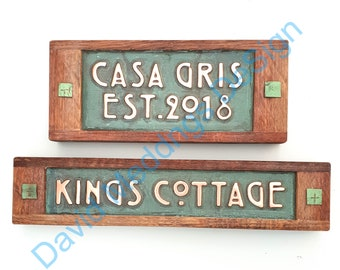 "Personalized gift Name sign in Mackintosh/Mission font 1""/25mm high characters with Copper and limed oak frame"