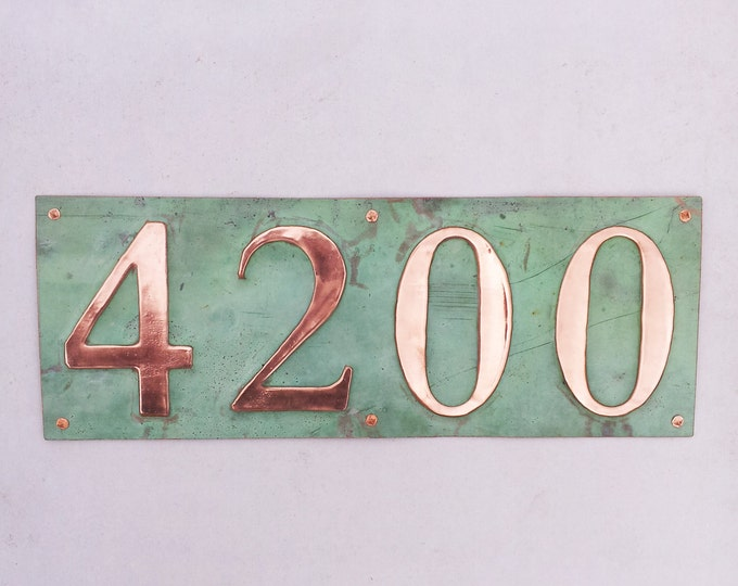 "Green copper address plaque 4x house numbers  in 3""/75mm or 4""/100mm in Garamond d"