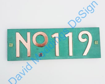 """Mission Mackintosh style house sign with plywood back, 3""""/75mm or 4""""/100mm high, custom made,  'No' followed by your 3x numbers d"""