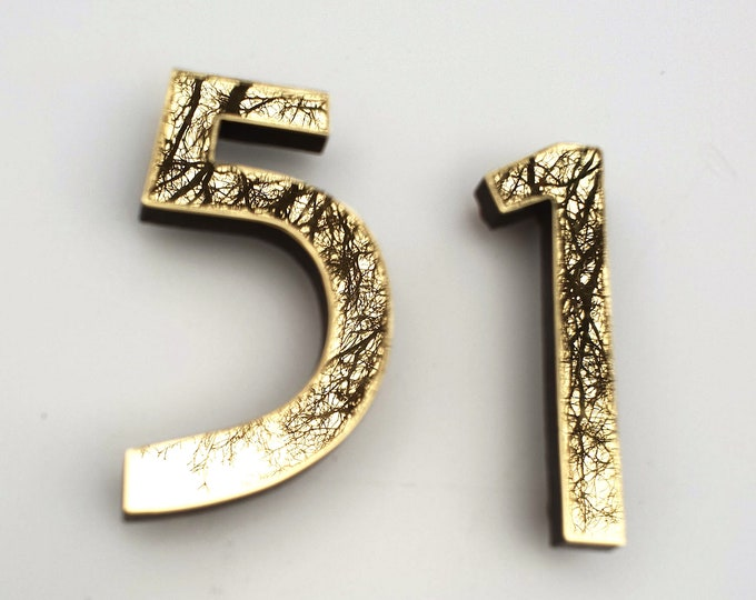 "Mission Mackintosh style floating numbers in brass 6""/150mm high Polished, hammered or brushed t2"