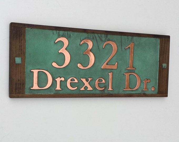 "Traditional Copper Address Plaque + oak frame 3"" numbers and 2"" letters in Garamond, polished/laquered and patinated d"