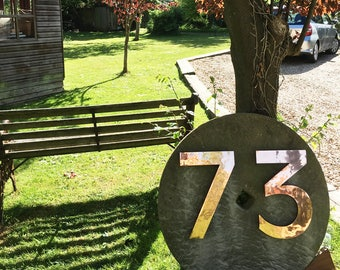 """Large  architectural copper 3D floating numbers 15"""" high Antigoni font with some discreet seams g"""