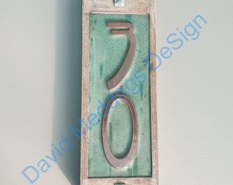 "number 30 in STOCK Art Nouveau green Copper and Oak Plaque 2x nos. 4""/100mm high numbers d"