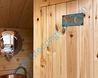 """Copper door plaque WC toilet lavatory sign  in 2""""/50mm high Garamond or your initials green or hammered finish ? d"""