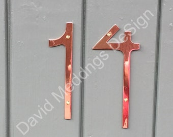 "Art Nouveau style Copper numbers letters polished, hammered or brushed 6""/150mm high Rivanna font t2"