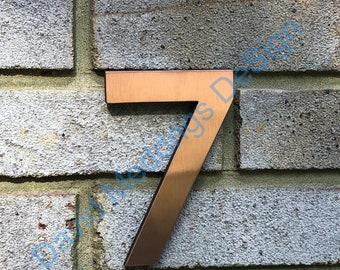 "House numbers Modern copper floating in polished or brushed Antigoni, 5""/125mm high u"
