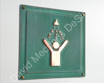 "Shower copper door plaque in hammered or green - upcycled birthday gift 4.5""/115mm square d"