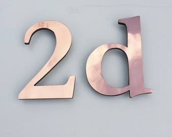 "Traditional serif 3""/75mm,4""/100mm high floating House numbers in Garamond, copper faced - Polished and  lacquered floating"