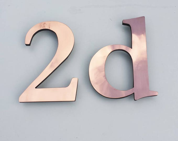 "Traditional House number copper faced floating style  3""/75mm or 4""/100mm high in polished Garamond d"