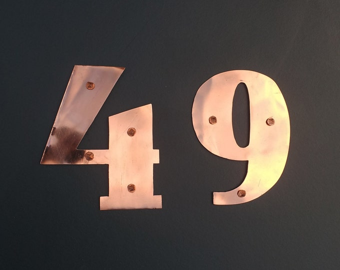"Art Deco mailbox house numbers in copper - 4""/100mm high in polished or hammered finish g"