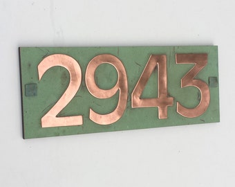 "Modern Style House number plaque in copper with plywood back, 4x nos 3""/75mm or 4""/100mm in  Antigoni d"