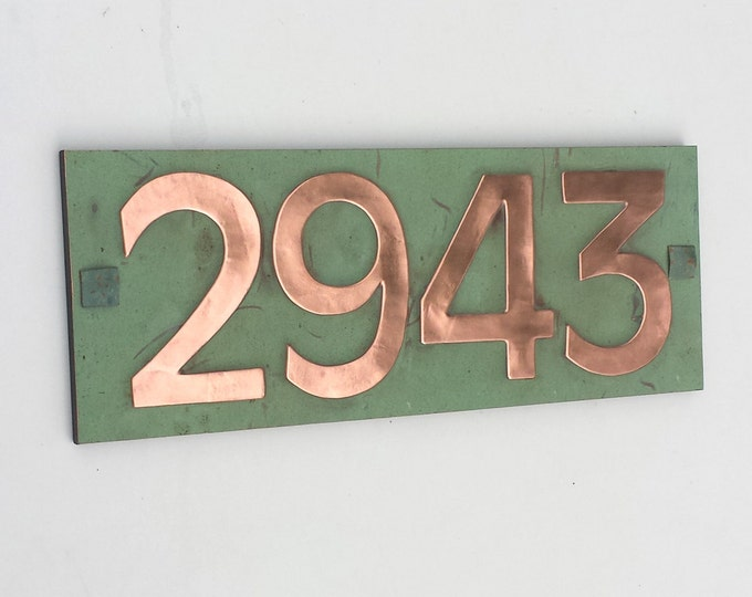 "Modern Style House number plaque in copper with plywood back, 4x nos 3""/75mm, 4""/100mm  Antigoni d"